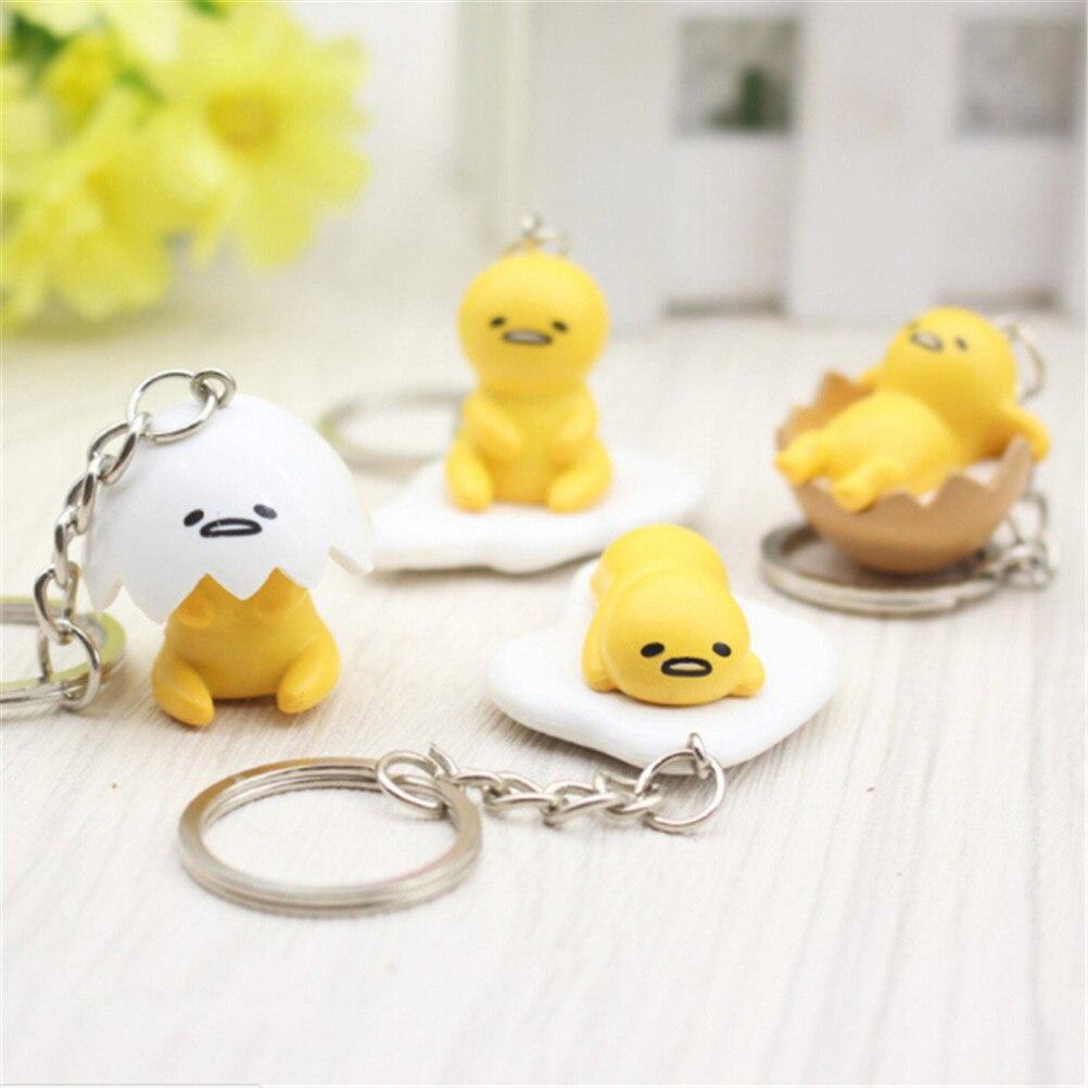 4pcs/set PVC 4cm Gudetama Egg Keyring Pendant Keychain Toys Yellow White Lazy PVC Action Figure Keychain Toys