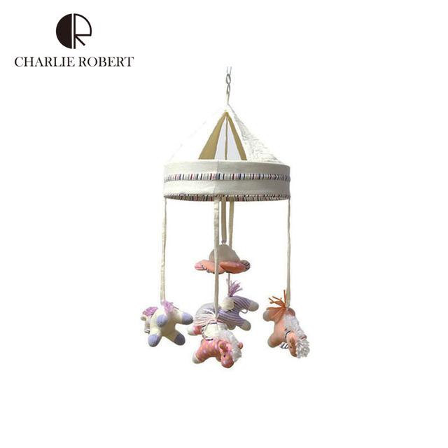 Estilo coreano marca whirligig bonito de pelúcia cavalos brinquedo do bebê recém-nascido presente infantil móvel musical para o bebê chocalhos brinquedos para crianças HK614