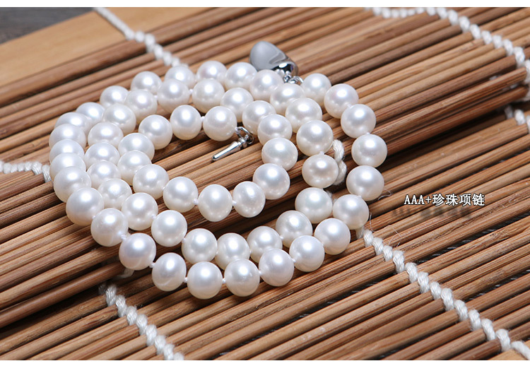Wholesale (AAA High Quality) Natural freshwater pearl necklace 7-8mm fine jewelry statement necklace pearl jewelry bijoux women wholesale good natural 7 8mm aaa pearl necklace jewelry natural white freshwater pearl collares anime 925 silver