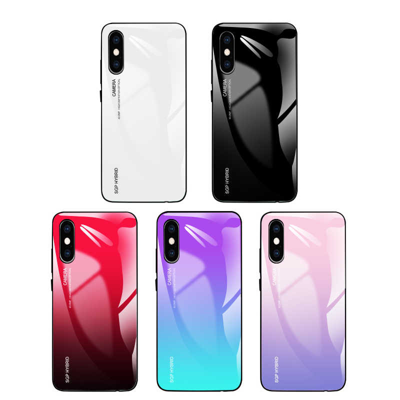 Funda de vidrio templado gradiente para huawei p20 p30 light pro honer honor 20 pro 10 funda lite 8x