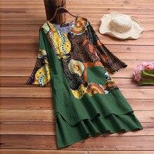 Summer Dress Women Vintage Patchwork Dress High Low Hem Boho Print Half Sleeves Pocket Dress New Fashion Casual Female Dress