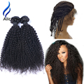 Pre Plucked 360 Lace Frontal Closure with Bundles Brazilian Virgin Hair With Closure Kinky Curly Human Hair Bundles With Frontal