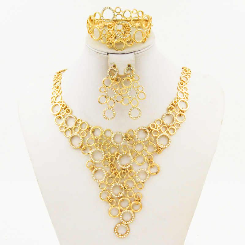 2017 אופנה מקורית דובאי זהב סטי תכשיטי כלה גביש מלא סט איטלקי סטי תכשיטי חתונת בנות נשים