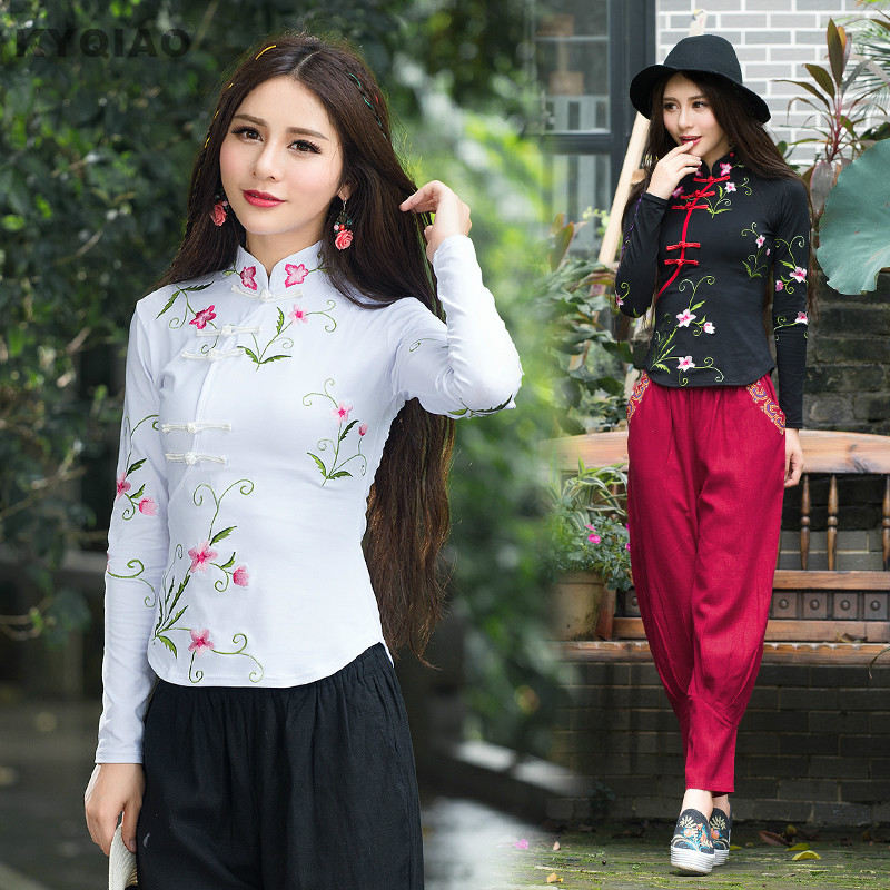 KYQIAO Traditional Chinese clothing 2019 women autumn elegant ethnic long sleeve mandarin collar embroidery cotton   blouse     shirt