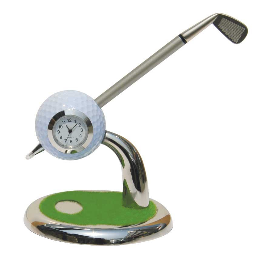Creative 3 in 1 Golf Club Style Clock Pen Holder/Ball Pen Stand Clock,Desktop Golf Ball Clock holder with ballpoint pen gift set golf ball sample display case