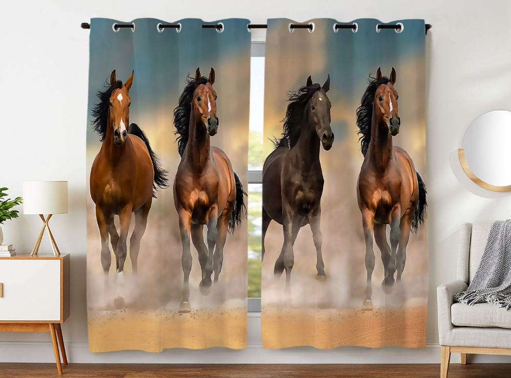 Blackout Curtains 2 Panels Grommet Curtains for Bedroom Funny Brown 4 Horse Animal