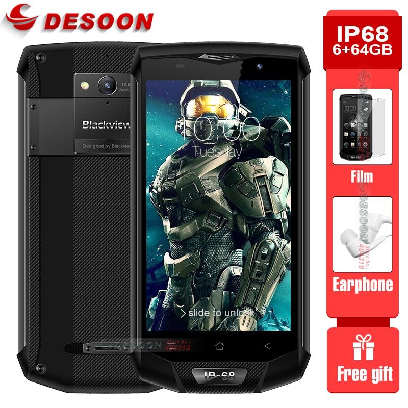 Blackview smartphone bv8000 pro ip68, telefone celular, a prova d água, 6gb ram, 64gb rom, fhd xiaomi, android 7.0, 16mp, usb cabo tipo c