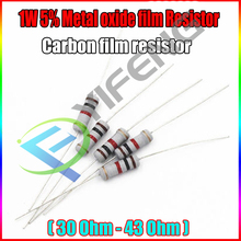 Новый 20 штук 5% 1 Вт Металлооксидные Плёнки резистор 30 33 36 39 43 Ом углерода Плёнки резистор