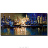 Large Painting Hand Painted Abstract Night Scenery Oil Painting On Canvas Abstract Scenery Wall Pictures Living Room Home Decor
