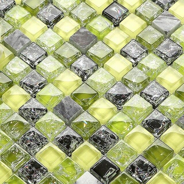 € 202.17 7% de réduction|Herbe vert craquelé cristal verre mosaïque mixte  pierre mosaïque cuisine dosseret salle de bain mur mosaïque cheminée ...
