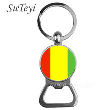 Fashion Beer bottle opener catena chiave Guinea/Guinea-Bissau/Ghana Cabochon Ciondolo Portachiavi New Fashion bandiera Nazionale gioielli(China)
