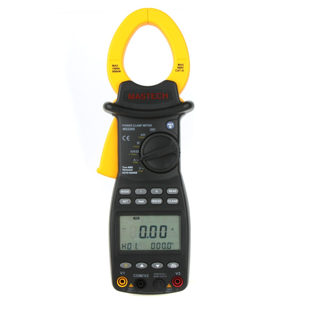 MASTECH MS2205 RS232 USB True RMS Auto Range Three Phase Harmonic Power Clamp Meter 1000A 600KW 1000Hz цены