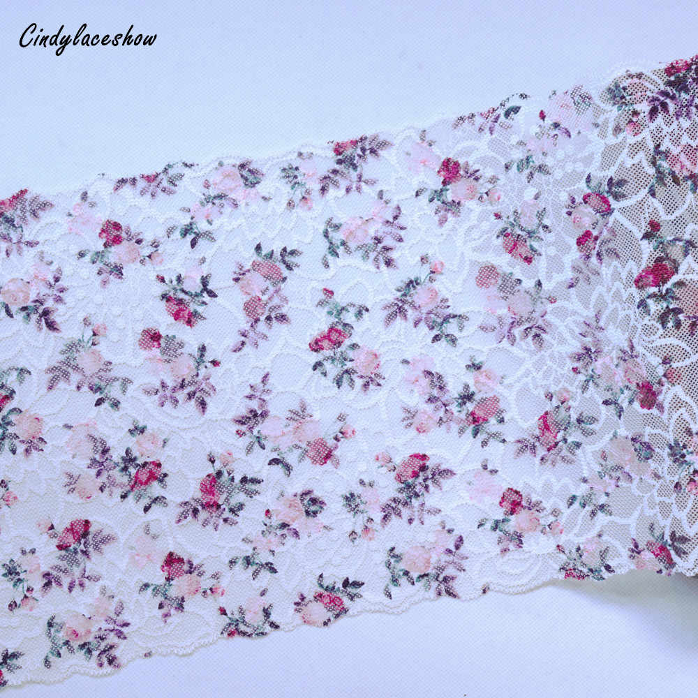 2 metre 21.5cm geniş İşlemeli elastik şerit süs DIY giyim aksesuarları dikiş malzemeleri jartiyer streç dantel kumaş beyaz