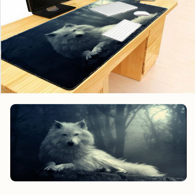 Mairuige White Wolf Locking Edge Rubber Mice Mat PC Computer Laptop Gaming Large Mouse Pad Play Mousepad Six Sizes for Chooce