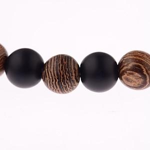 Image 5 - DOUVEI Bracelets élastiques de Yoga, pour hommes et femmes, perles en bois et en pierre noire, élastique, pour méditation, Yinyang, bijoux de prière, ABJ036, 2018