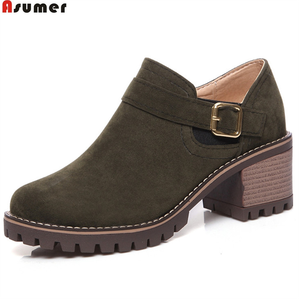 ASUMER fashion round toe square heel ladies spring autumn shoes black army green zipper women high heels ankle boots fashion embroided design spring winter casual women shoes zipper round toe square high heels women ankle booties free shipping