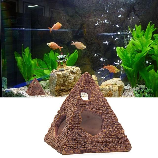 Hot Aquarium Egyptische Piramide Decoratie Aquarium Egypte Oude Building Decor Aquarium Rock Cave Huis Voor Vis Garnalen 7x7x8 cm