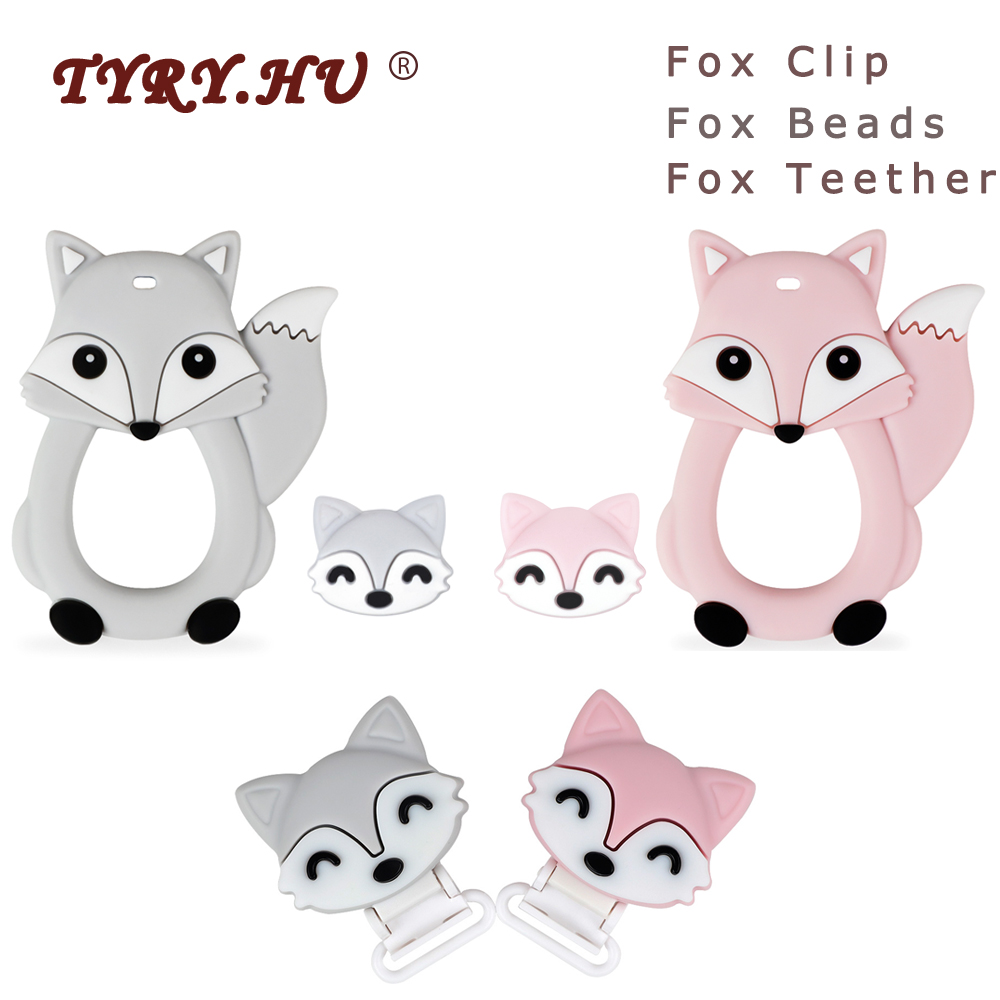 TYRY.HU 1Pc/5pc Fox Teether Cartoon Silicone Beads Baby Teethers Food Grade Teething Toys Rodents DIY Pacifier Chain Clip Tools