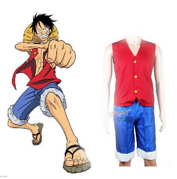 ญี่ปุ่น One Piece ชุดคอสเพลย์อะนิเมะลิง D Luffy เสื้อกั๊กและกางเกงสีแดง Waistcost สีฟ้ากางเกงขาสั้นกางเกงชาย