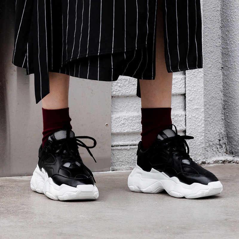 ASUMER büyük boy 35-42 moda bahar sonbahar yeni ayakkabı kadın yuvarlak ayak lace up hakiki deri ayakkabı Rahat daireler kadın sneakers
