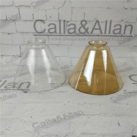 Amber/clear glass shade D180mmX135mm DIY lighting lampshade cone glass pendant light shade Design your own light glass shade