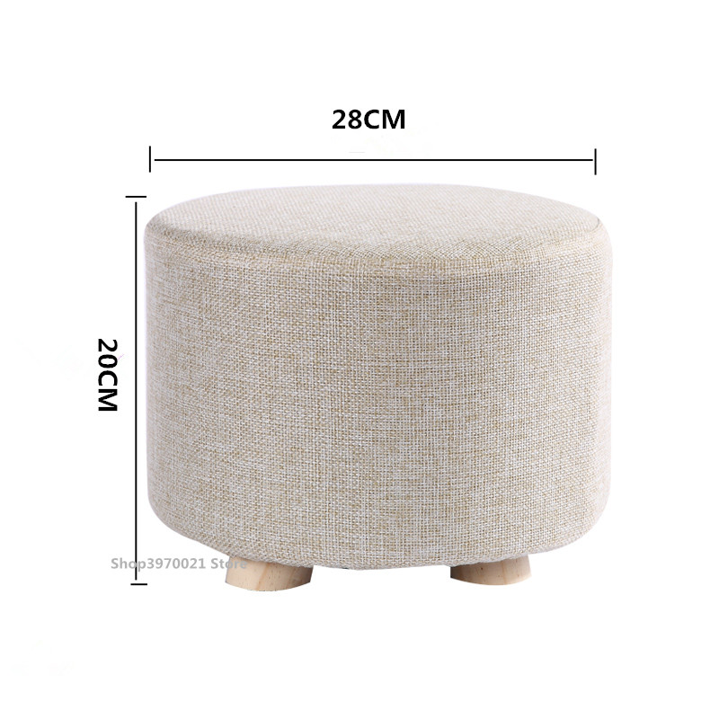 Creative Stool , Foot Stool Wooden Change Shoe Stool , Fabric Cover Removable Seat Upholstered Footrest Home Sofa Stool