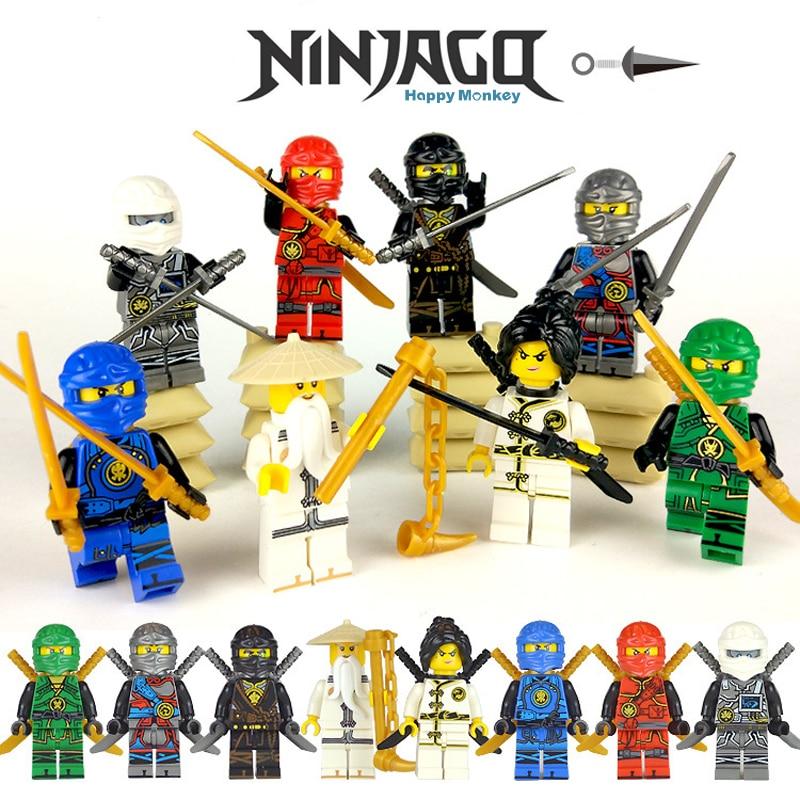 2018 Ninjago Master Wu NYA Cole KAI Lloyd ZANE JAY Ninja Figure Compatible LEGOINGLYS Building Blocks Bricks Children Toys Zk35