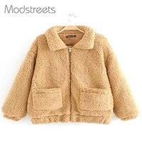 Modstreets Fashion Warm Jackets Girls Winter Patchwork Casual Coats Women Long Sleeve Plain Outwears Lady Khaki