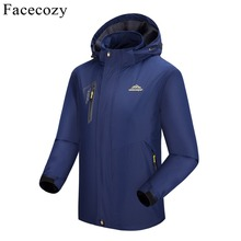 Facecozy Women Autumn Hooded Softshell Jacket Female Inner Fleece Hiking&Hunting Long Coat
