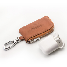 QIALINO Fashion Portable Genuine leather Bag Case for Apple AirPods Simple Mini Pocket Loading Car keys & Coin Cowhide Cover