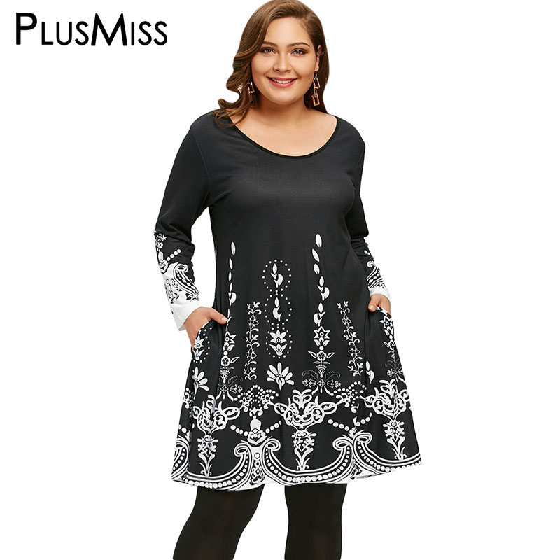PlusMiss Plus Size 5XL Arab Ethnic Printed Long Sleeve Tunics
