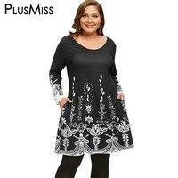 PlusMiss Plus Size 5XL Arab Ethnic Printed Long Sleeve Tunic T Shirt Women Clothing Large Size