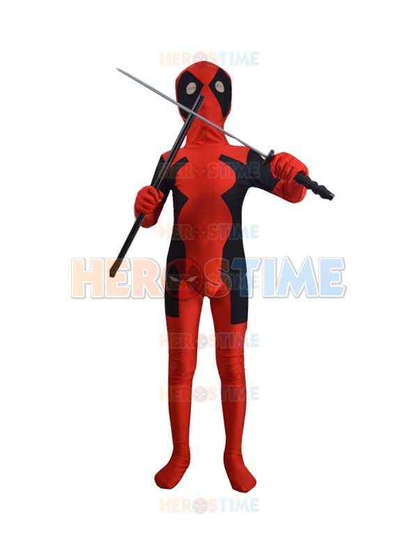 Newest Hot Sale Deadpool Kids Costume Lycra Spandex Superhero Zentai Halloween Cosplay Bodysuit with Free Shipping