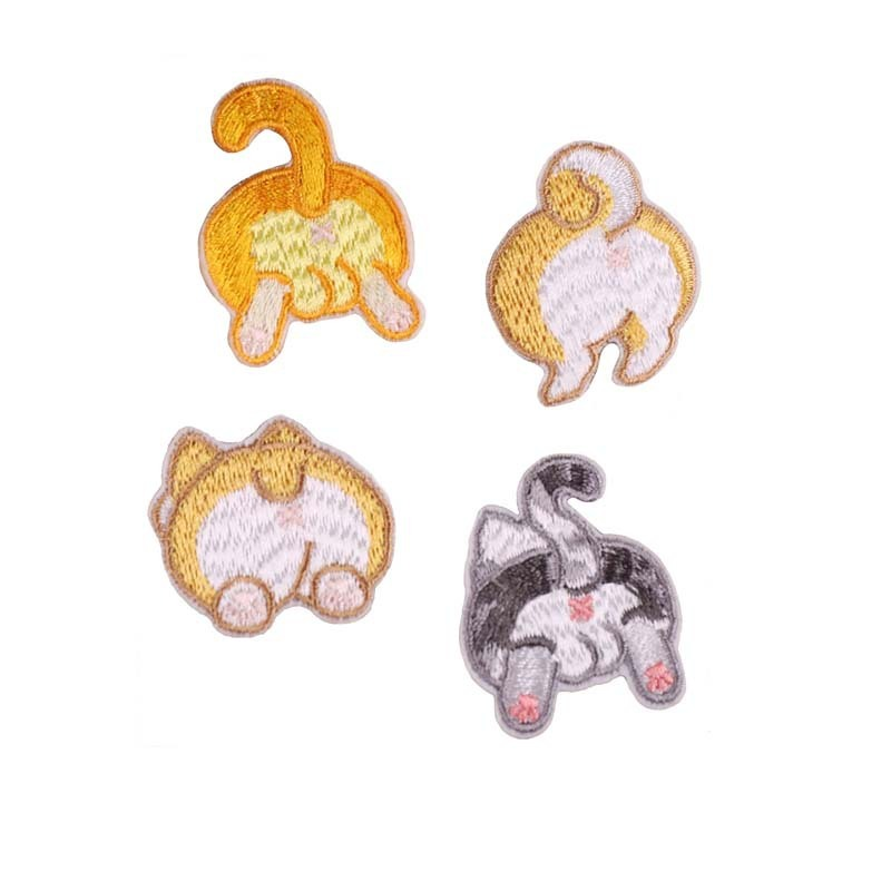High Quaility DIY Animals Patches Kitty Embroidery Iron On Patches For Clothing Shirt Dress Hat Bags Cute Fat Cat Stickers Cheap
