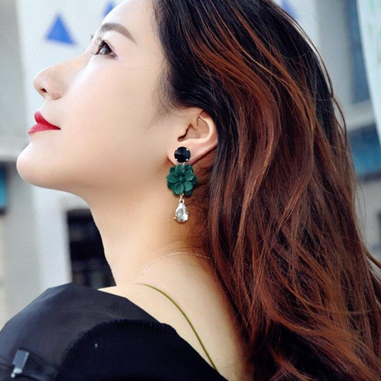 Crystal Earrings Jewelry Fashion Stud Earrings for Women Long Flower Earrings Fashionable 2019 in Stud Earrings from Jewelry Accessories