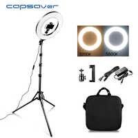 Capahorro 14 LED anillo luz anillo con luz de maquillaje con soporte trípode bicolor 3200 K-5500 K lámpara anular para vídeo foto de YouTube