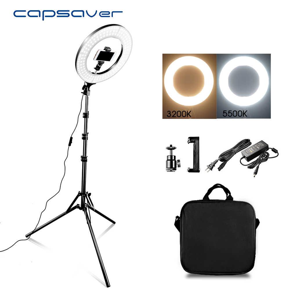 "Capsaver 14 ""ledリング光リングランプメイクライト三脚スタンド 2 色 3200k-5500 18k環状ランプビデオyoutube写真"