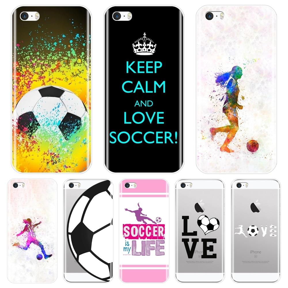Coque en TPU souple pour iPhone 5s 5C 5s SE, Football, amour, cœur, garçons, Apple, 4s