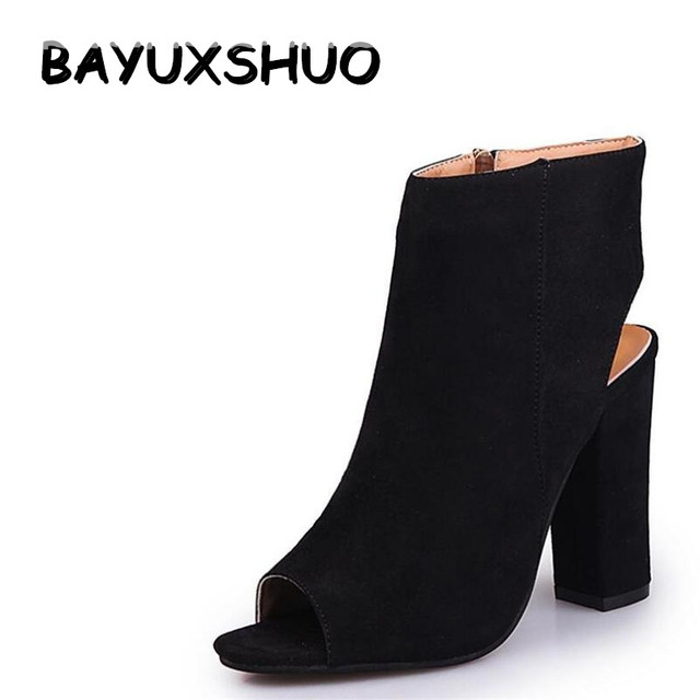 44bd8b8feae BAYUXSHUO Women Ankle Boots Sexy Peep Toe Chunky Heel Heels Casual Party  Platform Pumps Gladiator Sandals Bootie Shoes Woman