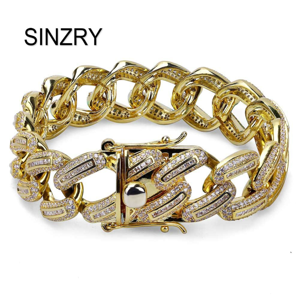 SINZRY AAA Zircon Wide Cuban Miami Chain Bracelet Jewelry Gold Silver Color trendy CZ Men's Hip hop charm Bracelets top quality 2016 chain link charm china wholesaler top quality mens and womens wide titanium fashion bracelet jewelry