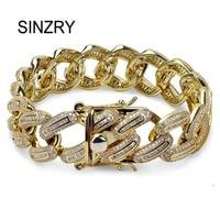 SINZRY AAA Zircon Wide Cuban Miami Chain Bracelet Jewelry Gold Silver Color trendy CZ Men's Hip hop charm Bracelets top quality