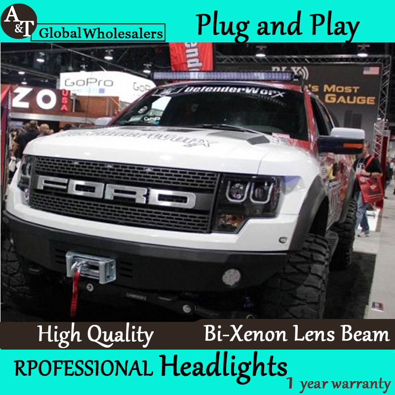 Car Styling for Ford Raptor LED Headlight assembly F150 Headlights DRL Lens Double Beam H7 with hid kit 2pcs. hireno headlamp for 2013 2015 ford kuga escape se headlight headlight assembly led drl angel lens double beam hid xenon 2pcs