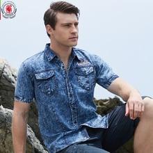 2017 새로운 브랜드 남자 셔츠 짧은 소매 데님 셔츠 망 캐주얼 드레스 남성 진 셔츠 고품질 100% 코 튼