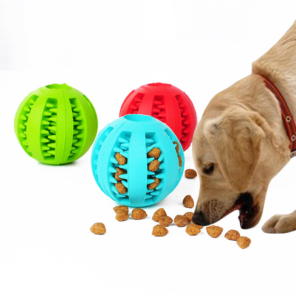 Pet Dog Toys Interactive Natural Rubber Ball Cat Puppy Chew Toy Food Dispenser Ball Bite-Resistant Clean Teeth Pet Playing Balls image
