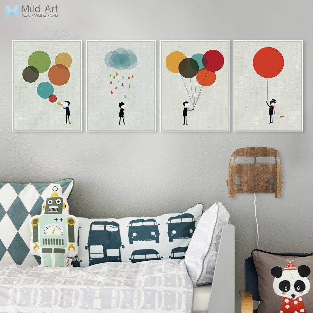 Moderní minimalistický chlapec Gentleman Barevný balón A4 Velký umělecký tisk Poster Wall Picture Canvas Painting Vlastní ložnice Home Deco