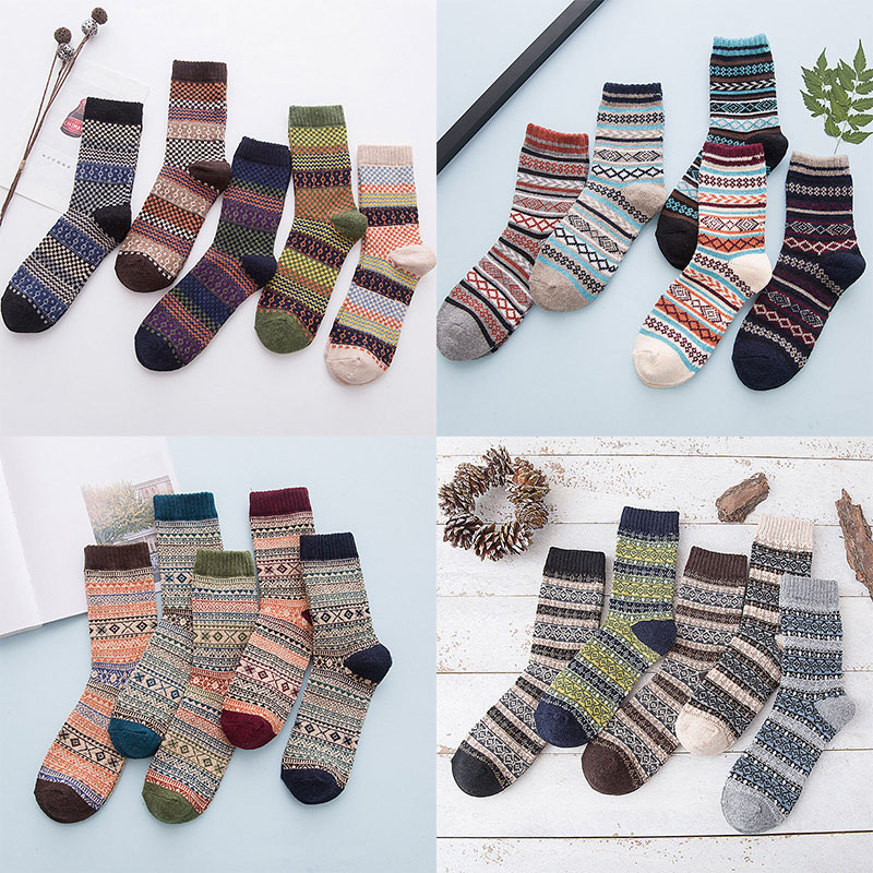 Fashion 20Styles Winter Mens Socks Warm Thick Wool Sokken Mixture striped thick warm Casual Dress Socks calcetines hombre Socks in Men 39 s Socks from Underwear amp Sleepwears