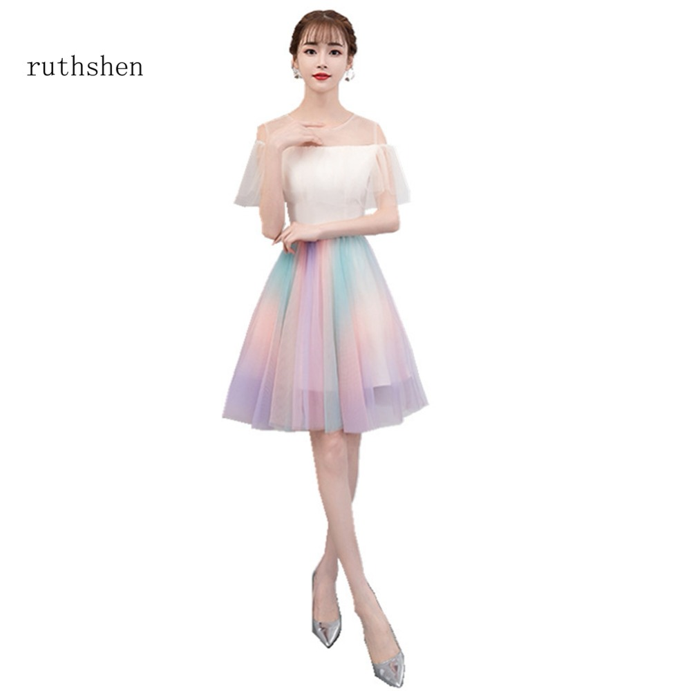 ruthshen 2018 Colorful Off The Short Cocktail Dresses With Short Sleeves Vestidos Coctel Luxury In Stock Vestido Coctel Corto