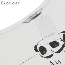 Ekouaer Women Casual Round Neck Sleepwear Short Sleeve Letter Print Nightshirt Nightgown Lounge Dress Sleepshirt Female Nighties