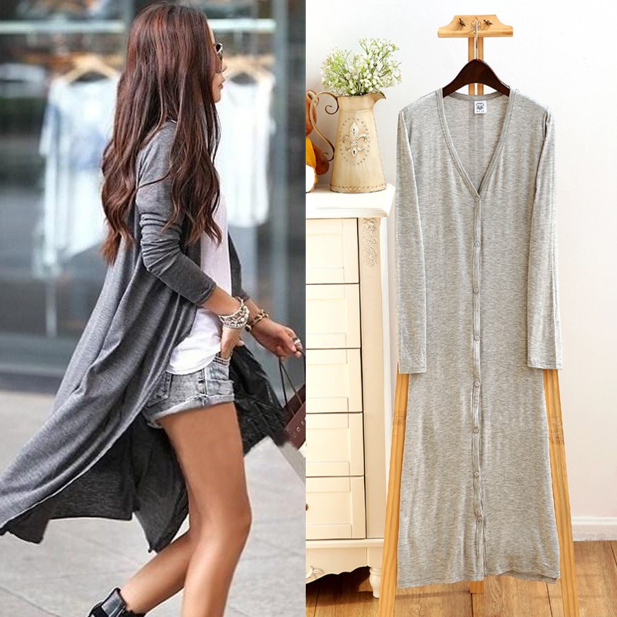 ALI shop ...  ... 32706541551 ... 1 ... 2019 Spring Thin Kimono Long Cardigan 12 Colors Modal Gilet Femme Manche Longue Women Outerwear Cardigans Coats Black Gray Coat ...