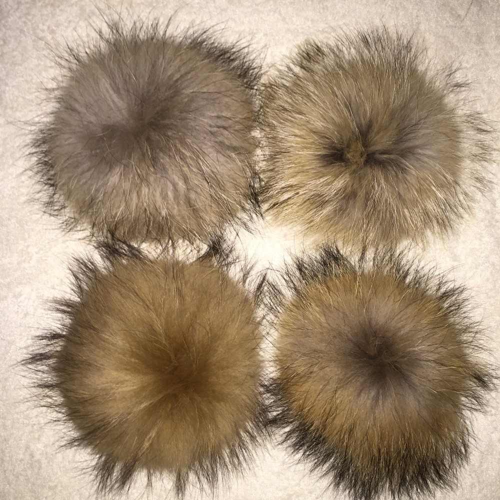 20 ピース/ロット DIY 15 センチメートル本物の自然な黒アライグマの毛皮のポンポンニットビーニー帽子キャップキーホルダーとスカーフ毛皮ポンポン卸売